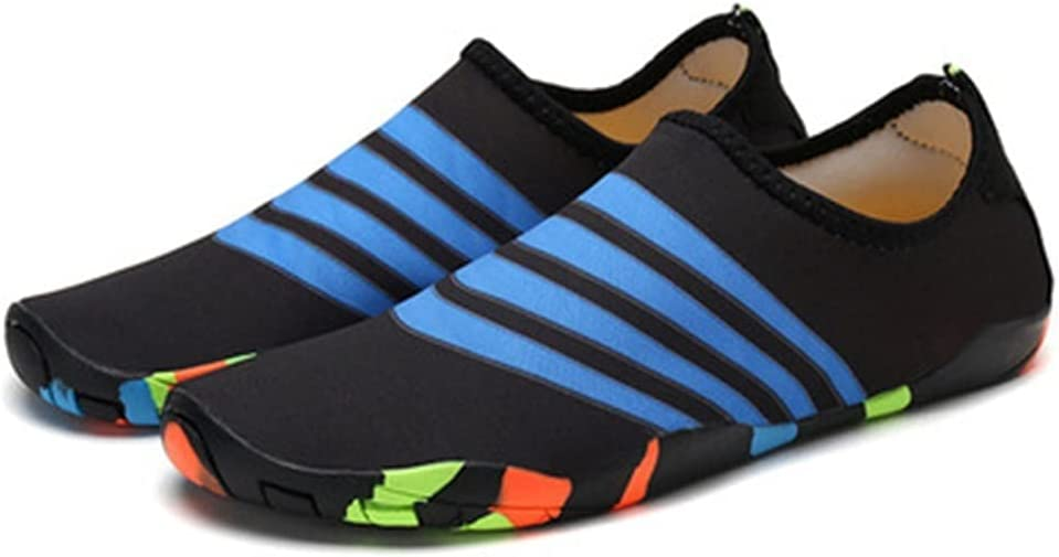 Jiahezi Men's and Women's Water Sports Shoes, Outdoor Beach Quick-Drying Shoes, Swimming Shoes, Diving Shoes, Yoga Shoes (Color : 199 Blue Stripes, Size : 43)