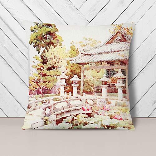 Big Box Art Cushion and Cover - Ella Du Cane Japanese Oriental Lotus at Kyomidzu - Single Square Throw Pillow - Soft Faux Suede Material - Charcoal Rear - 40x40 cm