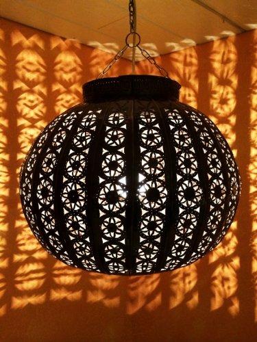 Orientalische Lampe Pendelleuchte Rostfarben Candan E27 Lampenfassung | Marokkanische Design Hängeleuchte Leuchte aus Marokko | Orient Lampen für Wohnzimmer, Küche oder Hängend über den Esstisch