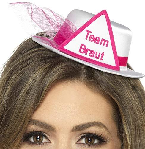 Party-Teufel® Mini Hut Aufschrift Team Braut, Weiß mit Dreieck sowie Brautschleier in Pink und Haarclips Junggesellenabschied