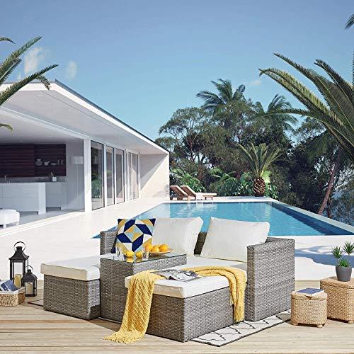 JKABCD 5 Piezas de ratán sofá y Mesa de jardín, terraza Conjunto apilable,A