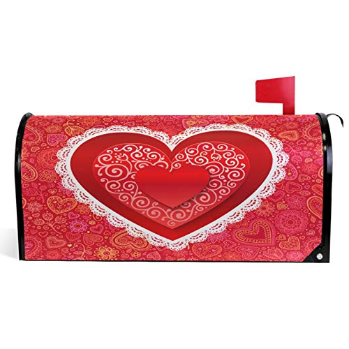 Vdsrup Valentine's Day Mailbox Covers Magnetic Sweet Love Hearts Mailbox Cover Standard Size 18' X 21' Mailbox Wraps Post Letter Box Cover Home Garden Decorations