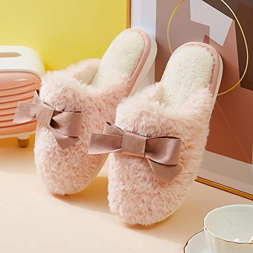 N/A Zapatillas Padders, Zapatillas de Pareja de Felpa de Invierno, Zapatillas de algodón Antideslizantes cómodas para Uso Exterior, Pink_40-41