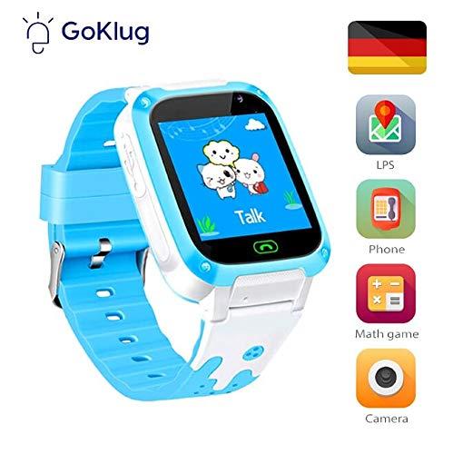 Kinder Smartwatch für kleine Kinder Telefonfunktion mit SIM Kinder Smartwatch Uhr für 3, 5, 7, 9, 10, 12 Jahre Jungen SmartWatch für Kinder Blau Handy Touchscreen Spiel, Kamera, Voice Chat, Blitzlicht