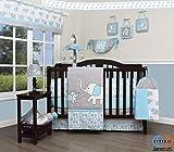 GEENNY Baby Boy Crib Bedding Set - 13 Piece Elephant Nursery Decor, Blizzard Blue Grey, Comforter, Cotton, Polyester, Machine Washable, CRIB-CF-2076