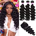 Ayniss Brazilian Loose Deep Wave 3 Bundles with Closure 10A Wet and Wavy Unprocessed Virgin Loose Deep Curly Human Hair Weave Bundles With Lace Closure Free Part Hair Extensions