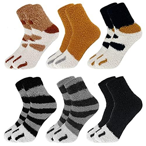 CheChury 6 Paar Warme Flauschige Socken für Frauen Plüsch Korallen Socken Kuschel Katzenpfoten Socken Winter gemütlich Mädchen Super Weich Fuzzy Home Bett Socken mit Schönem Wintergeschenk Frauen