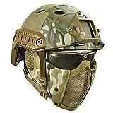 JYKOO Draussen Taktische Helme Schutzbrille Mit Stahlgittermaskenhelm Airsoft Paintball Schutzhelme CS Game Set Schutzausrüstung,OT