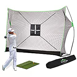 ⛳【PLEASE NOTE THE GOLF NET BUNDLE 4PC COMPRISES OF THE NET, DUAL TURF GRASS MAT, CHIPPING TARGET & THE CARRY BAG】- BUNDLE AND SAVE - For great value and for the budget conscious, get all these golf training aids in a convenient bundle for one low pri...