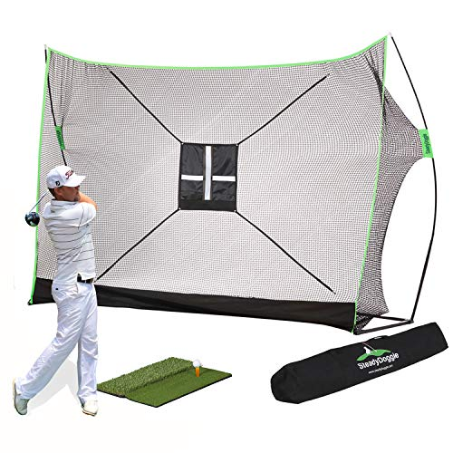 Golf Practice Net Bundle 4pc - Consists of Professional Patent Pending Golf Net, Dual-Turf Golf Mat, Chipping Target & Carry Bag - The Right Choice of Golf Nets for Backyard Driving & Golf Hitting Net