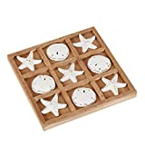 NIKKY HOME Wood Board Travel Game Beach Tic Tac Toe for Fun, 8.97 by 8.97-in Distressed White