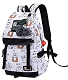 Teenage girls' Backpack Middle School Students Bookbag Outdoor Daypack With USB charge Port(1# White,20 Liters)