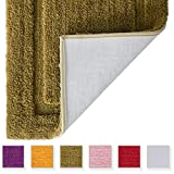 TOMORO Microfibers Non-Slip Bathroom Rug – Quick Dry, Super Absorbent and Soft Luxury Hotel Door Carpet Shower Shaggy Bath Mat Waterproof TPR Non-Skid Backing 27.5 x 47 inch Beige