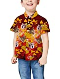 Childs Boys Hawaiian Short Sleeve Shirts 3D Pattern Pizza Cat Aloha Blouses...