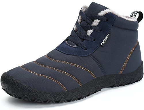 SAGUARO® Herren Damen Winterschuhe Warm Gefüttert Winter Stiefel Kurz Schnür Boots Schneestiefel Outdoor Freizeit Schuhe (EU 44, Blau)