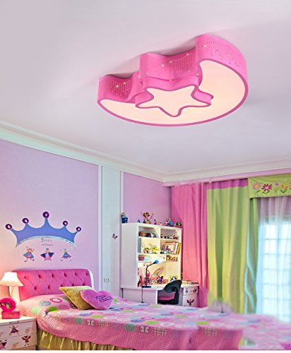 Lily's-uk Love Chambre d'enfant Lumières Girl Moderne Simple Boy Warm Bedroom Lumière Creative Star Moon Led Plafond - Rose