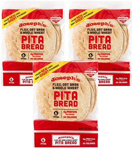 Joseph's Flax, Oat Bran and Whole Wheat Flour Pita Bread - Plus New Ridiculously Delicious Pita Bread Recipes! (3 Pack)