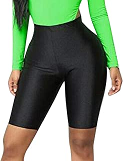 LEKODE Women Yoga Shorts Solid Fitness Elastic High Waist Smooth Pants