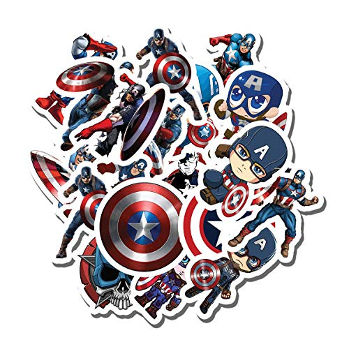20 PCS Stickers Pack Captain America Aesthetic Vinyl Colorful Waterproof for Water Bottle Laptop Scrapbooking Luggage Guitar Skateboard