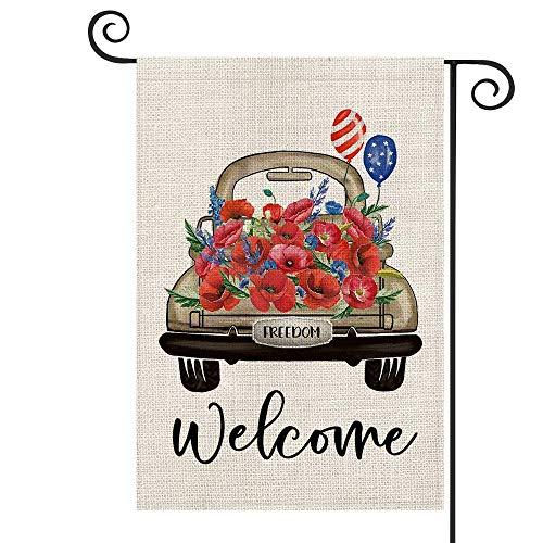 Välkommen vattenfärg majs vallmo lavendel bil frihet USA flagga ballong trädgård flagga vertikal dubbelsidig, patriotisk 4 juli självständighet minnesdag gård utomhusdekoration 47 x 32 cm