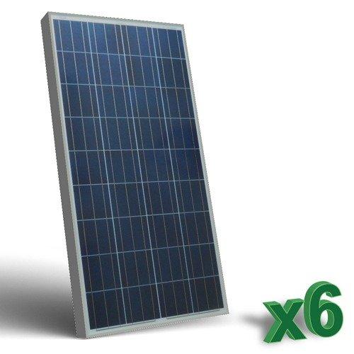 Conjunto de 6 Placa Solar Fotovoltaico 150W 12V total 900W Policristalino adecuado para Camper Caravan Camperista Chalet Boot