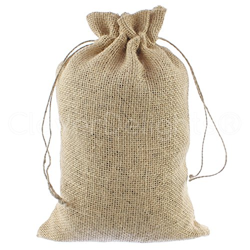 "CleverDelights 8"" x 12"" Burlap Bags with Natural Jute Drawstring - 50 Pack - Burlap Pouch Sack Favor Bag for Showers Weddings Parties and Receptions - 8x12 inch"