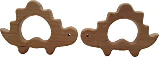 Wendysun Organic Baby Teether Wooden Dinosaur Shape Teether Natural Teething Grasping Toy Baby Shower Gift Toddler Teether Newborn Baby Gift wood color HC131