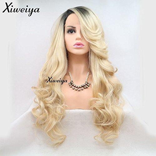 Xiweiya Lange blonde Perücke mit Lace-Front, gewellt, Kunsthaar-Perücke, Seitenscheitel, kurz, dunkle Wurzel, hitzebeständig, halb handgebunden.