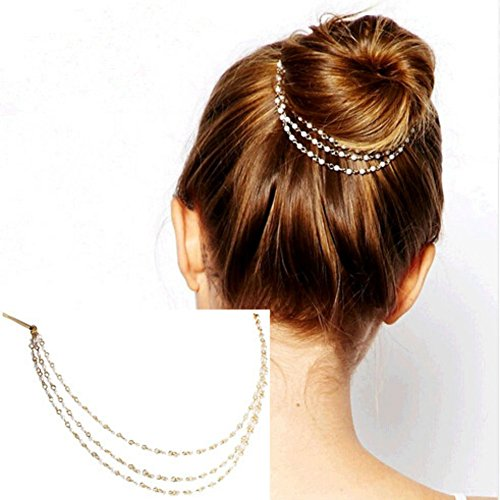 AKOAK Punk Hair Cuff Pin Clip 2 Combs Multilayer Tassels Artificial Pearl Chains Decorate Hair Clip Headwear Edge Clips Boho Meatball Head Accessories