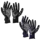 Firtink 2 Pairs Pet Bürste Handschuh Fellpflegehandschuh Hunde Bürste Katzenbürste Doppelseitig Möbel Haar Entferner optimale Tierpflege für Pferd, Hund und Katze