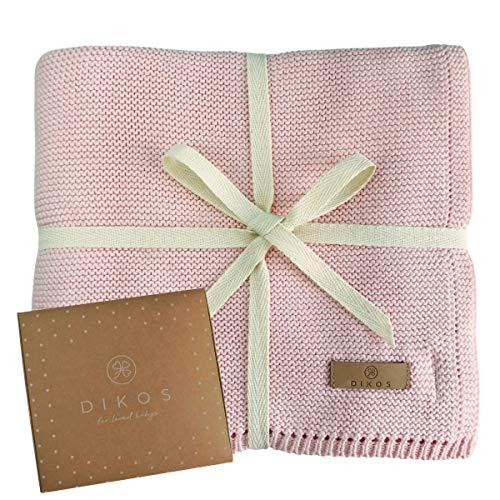 Babydecke Baumwolle aus * 100% * GOTS BIO Baumwolle rosa mit dünner Bordüre für Mädchen Strickdecke Baby Decke Baumwolldecke Strick Wolle Kinderwagen Kuscheldecke Erstlingsdecke Wolldecke altrosa rose