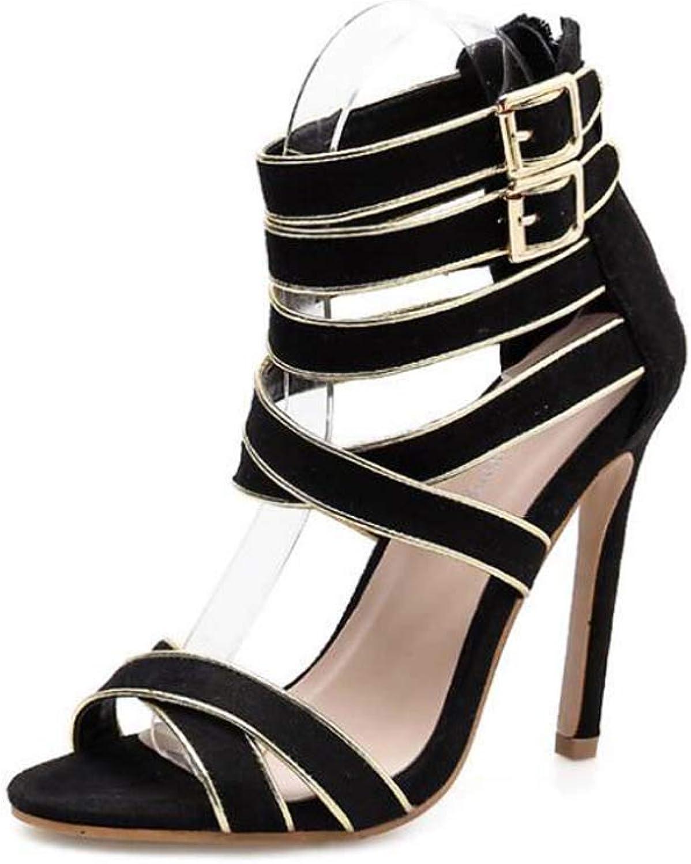 11cm Stiletto Cross Straps Hollow Sandals Women Open Toe Ankle Straps Belt Buckle Roma shoes OL Court shoes EU Size 34-40