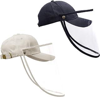 2 Pack Men Womens UV Proof Sun Hats Fancy Baseball/Bucket Cap with Removable Shield Adjustable Hat