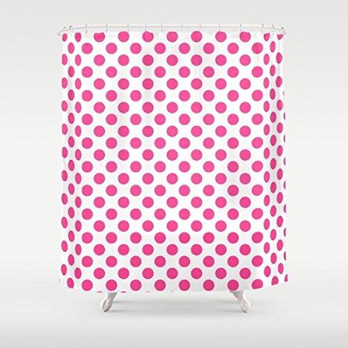 eikleom Pink PolkaDots auf weiß Hintergr&bild Duschvorhang 180x 180cm wasserdicht Polyester