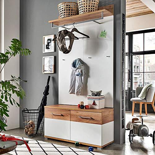 Lomadox Garderoben-Set in weiß - Navarra-Eiche-Nb. - inkl. Sitzbank und Polster
