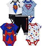 Superman Newborn Baby Boys 5 Piece Bodysuit Pants Outfit Clothing Set 0-3 Months