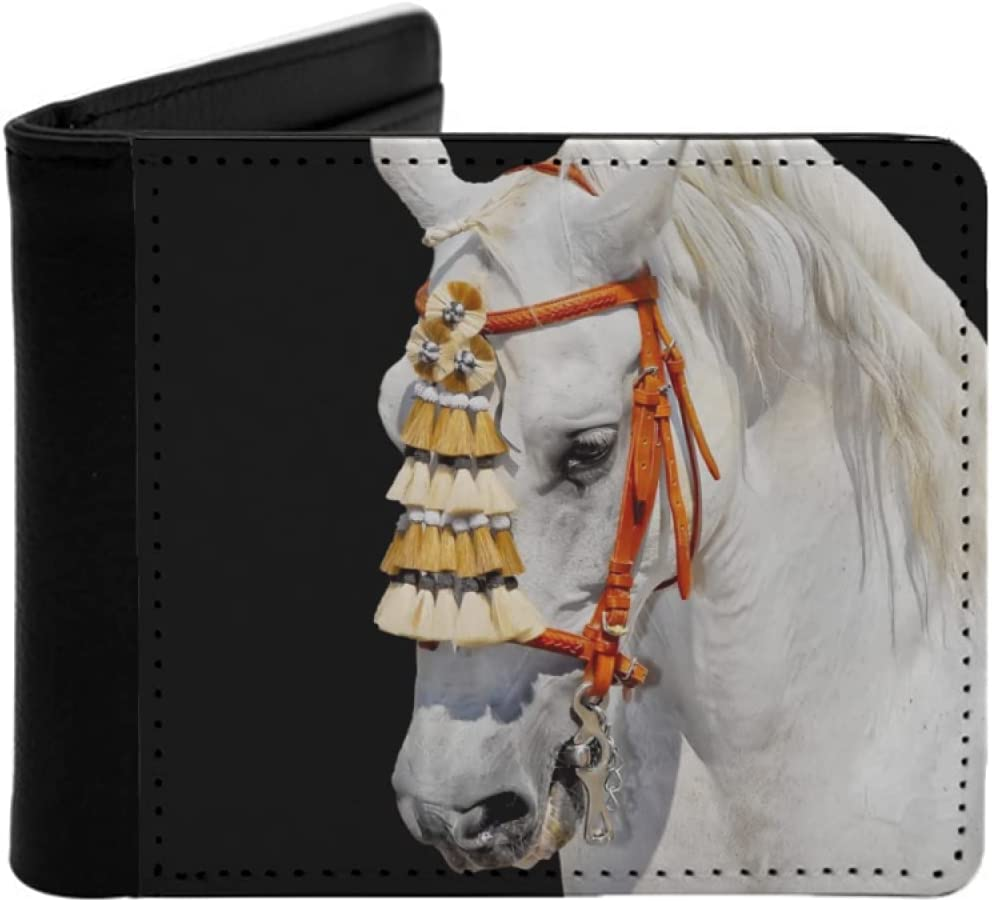 Mens Womens Slim Wallet Grey Now free Elegant shipping decoration spanish andalusian horse