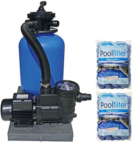 well2wellness Pool Sandfilteranlage Poolfilter TOP 500 für Aufstellbecken und Pools bis 60 m³ Plus 2 x 350g Fibalon Pool