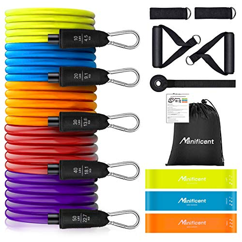 Manificent Resistance Bands Set, Heavy Duty Exercise Bands, Workout Bands, Tube Fitness Bands, 150 LBS with Handles, Door Anchor, Leg Straps, Mini Band for Men Women at Home Workout, Weight Training