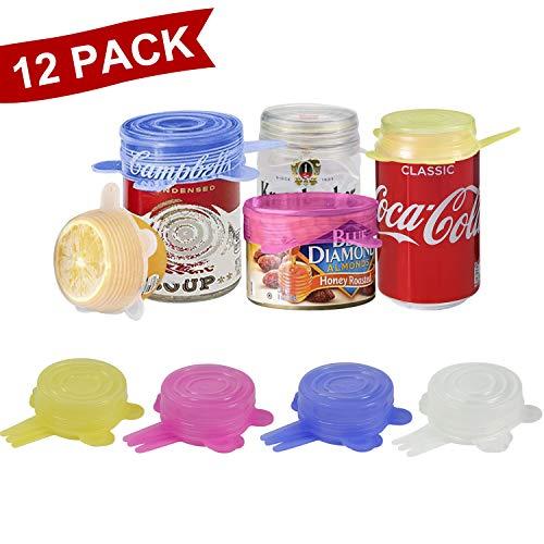 longzon. 12 Piezas Tapas Silicona Ajustables Cocina 6.5CM, 4 Colores de Tapas Silicona para Latas, Sin BPA, para Lavavajillas, Microondas, Horno o Refrigerador