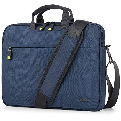 SHIELDON 13-13.3 Inch Laptop Sleeve Briefcase Multi-Functional Computer Bag Shoulder Bag with Strap for Men and Women Compatible with 13' MacBook Air/Pro, Lenovo, Acer Chromebook Notebook - Blue