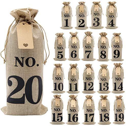 FülleMore 20er Set Weinbeutel Blindverkostung Weinflaschen Geschenktüten 1-120 nummeriert Weinproben Jutebeutel mit Kordelzug mit Etiketten Geschenktasche für Rotwein Champagner