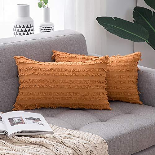MIULEE 2 Piezas Fundas de Cojines Suave y Cómoda Lino Funda de Almohada con Cremallera Oculta para Sófa Cama Dormitorio OficinaSillas Duradero Moderno Decoración de Hogar 30x50cm Naranja