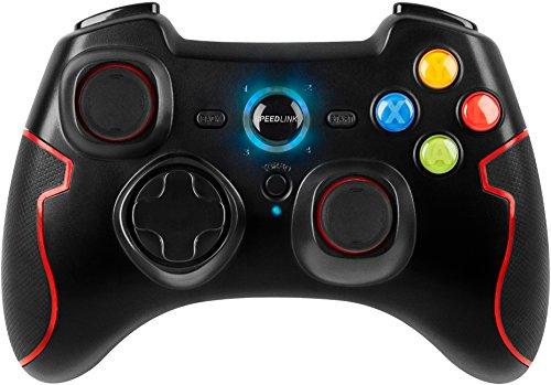 Speedlink Torid kabelloses Gamepad für PC/PS3 (bis zu 10 Stunden Spielzeit, XInput und DirectInput, Vibrationsfunktion, Schnellfeuerfunktion) schwarz
