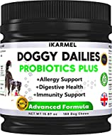 iKARMEL | Allergy Relief Dog Supplements | Probiotics For Dogs|180 Digestive Support Treats | Immuni...