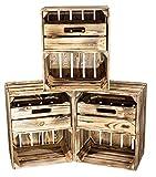 Vintage Möbel 24 GmbH 3X Schöne geflammte Holzkisten/Obstkiste mit Schublade, ideal für Regalsysteme aus Holz oder als Nachttisch, neu, DIY, 40x30x50cm
