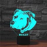Jinson well 3D Bulldogg Hund Lampe optische Illusion Nachtlicht, 7 Farbwechsel Touch Switch Tisch Schreibtisch Dekoration Lampen mit Acryl Flat ABS USB Kabel Spielzeug