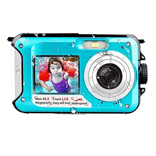 Unterwasserkamera wasserdichte Digitalkamera Unterwasserkamera FHD 2.7K 48MP Videorecorder Camcorder Selfie Dual Screen wasserdichte Kamera zum Schnorcheln 10 ft