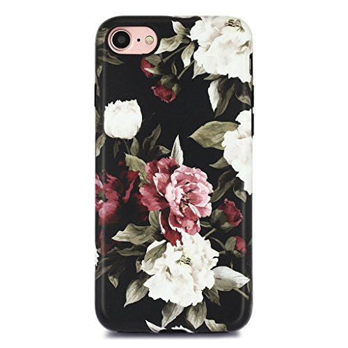 GOLINK iPhone 7 Case for Girls/iPhone 8/SE 2 Floral Case, Floral Series Matte Finish Slim-Fit Anti-Scratch Shock Proof Anti-Finger Print Flexible TPU Gel Case for iPhone 7/iPhone 8 - White Red Rose