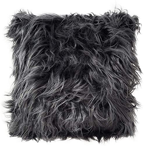 Cushion Cover Charcoal Grey Faux Fur Mohair Shaggy Mongolian Look Pillow Case Throw 18' x 18' (45 cm x 45 cm) (1)